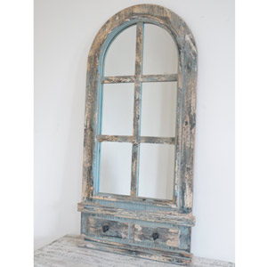 Large Rustic Arch Window Mirror with Hooks 52cm x 111cm