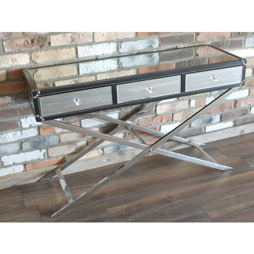 Mirrored Art Deco 3 Drawer Console Table
