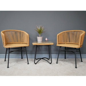 Rattan Table & Two Chairs Set