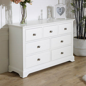 7 Drawer White Chest of Drawers - Davenport White Range