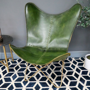 Green & Gold Leather Butterfly Chair