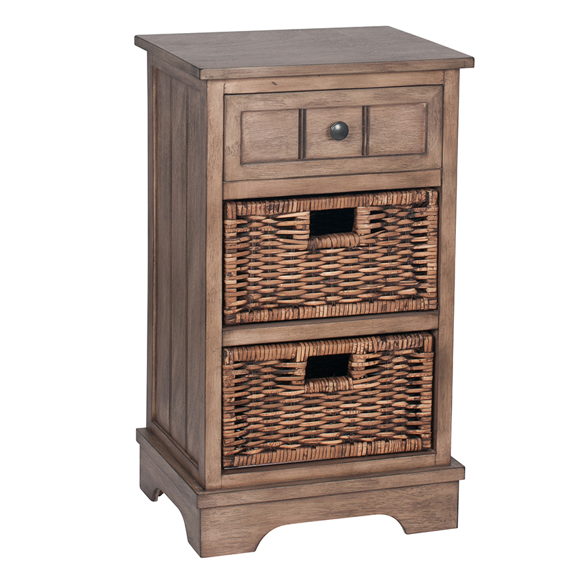 Wooden 1 Drawer 2 Basket Bedside Storage Unit - Dorchester Range