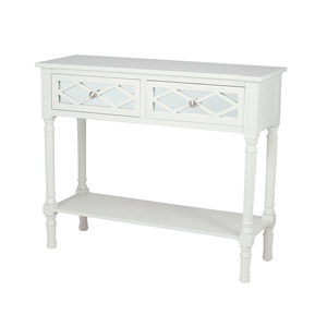 Slim White Mirrored Console Table