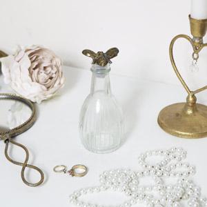 Gold Bee Stopper Glass Bottle