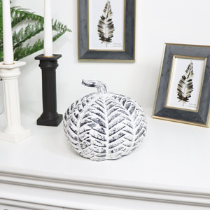 White Distressed Metal Pumpkin Ornament
