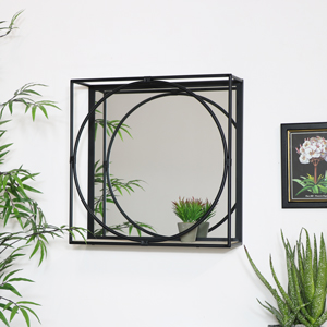 Black Framed Mirrored Shelf - Large