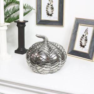Silver Distressed Metal Pumpkin Ornament