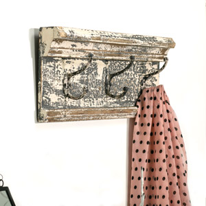 Aged Wooden Wall Mounted coat Hooks