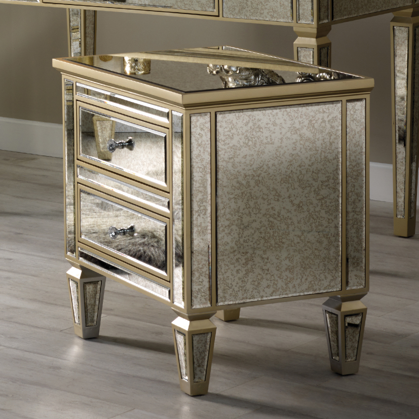 Alexandra Mirror Range - Two Drawer Bedside Table