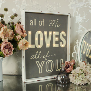 'All of Me Loves All of You' Light Up Wall Mounted Sign