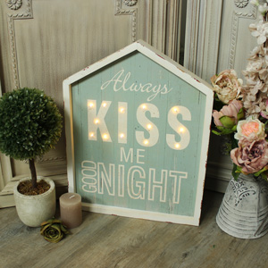 'Always Kiss Me Goodnight' Light Up Wall Mounted Sign