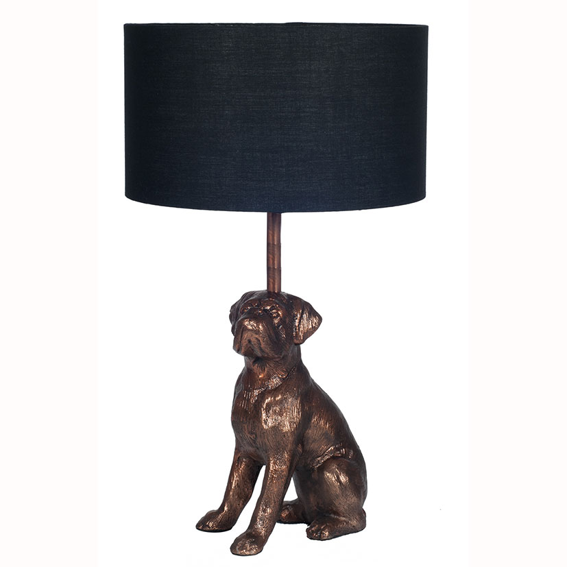 Antique Copper Dog Table Lamp