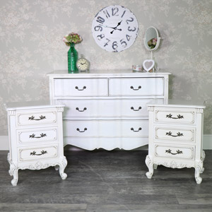 Antique Cream Chest of Drawers and Pair of Bedside Chests - Limoges Range