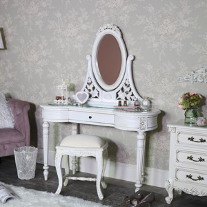 Vintage Cream Dressing Table , Mirror and Stool Set - Limoges Range