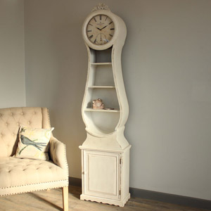 Antique Cream Grandfather Clock with Storage
