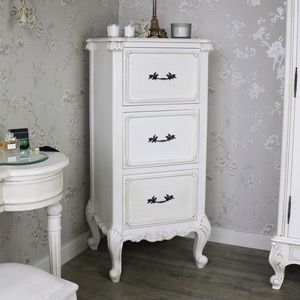 Antique Cream Tallboy Chest of Drawers - Limoges Range