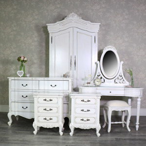 Antique Cream Wardrobe, Dressing Table Set, Chest of Drawers, Pair of Bedsides - Limoges Range