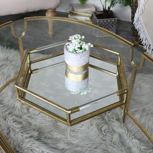Antique Gold Hexagonal Mirrored Cocktail Tray