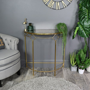 Antique Gold Metal Demi-Lune Hall Table