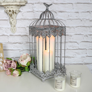 Antique Grey Birdcage Lantern Candle Holder