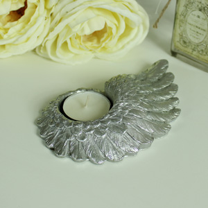 Antique Silver Angel Wing Tea Light Holder