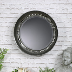 Antique Silver Beaded Circle Wall Mirror
