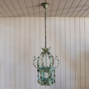 Antique White Ornate Floral Pendant Light
