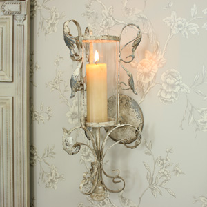 Antique White Ornate Hurricane Lamp Wall Sconce