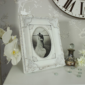 Antique White ornate Photograph Frame