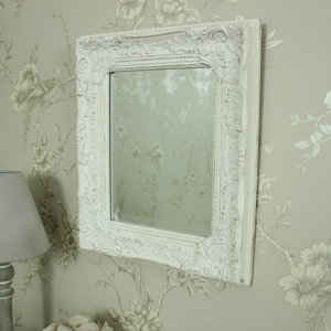 Antique White Ornate Small Wall Mirror
