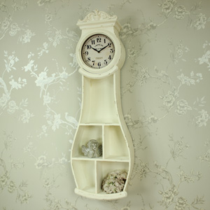 Antique White Ornate Wall Mounted Grandfather Clock with Shelves