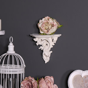 Antique White Ornate Wall Shelf / Corbel