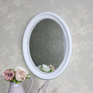 Antique White Oval Wall Mirror 40cm x 49.5cm
