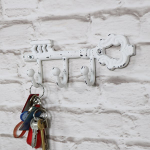 Antique White Triple Coat Hook