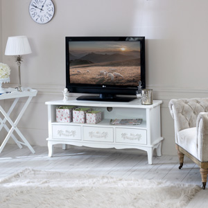 Antique White TV Cabinet with Drawers - Pays Blanc Range
