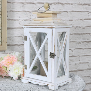 Antique White Wooden Candle Lantern