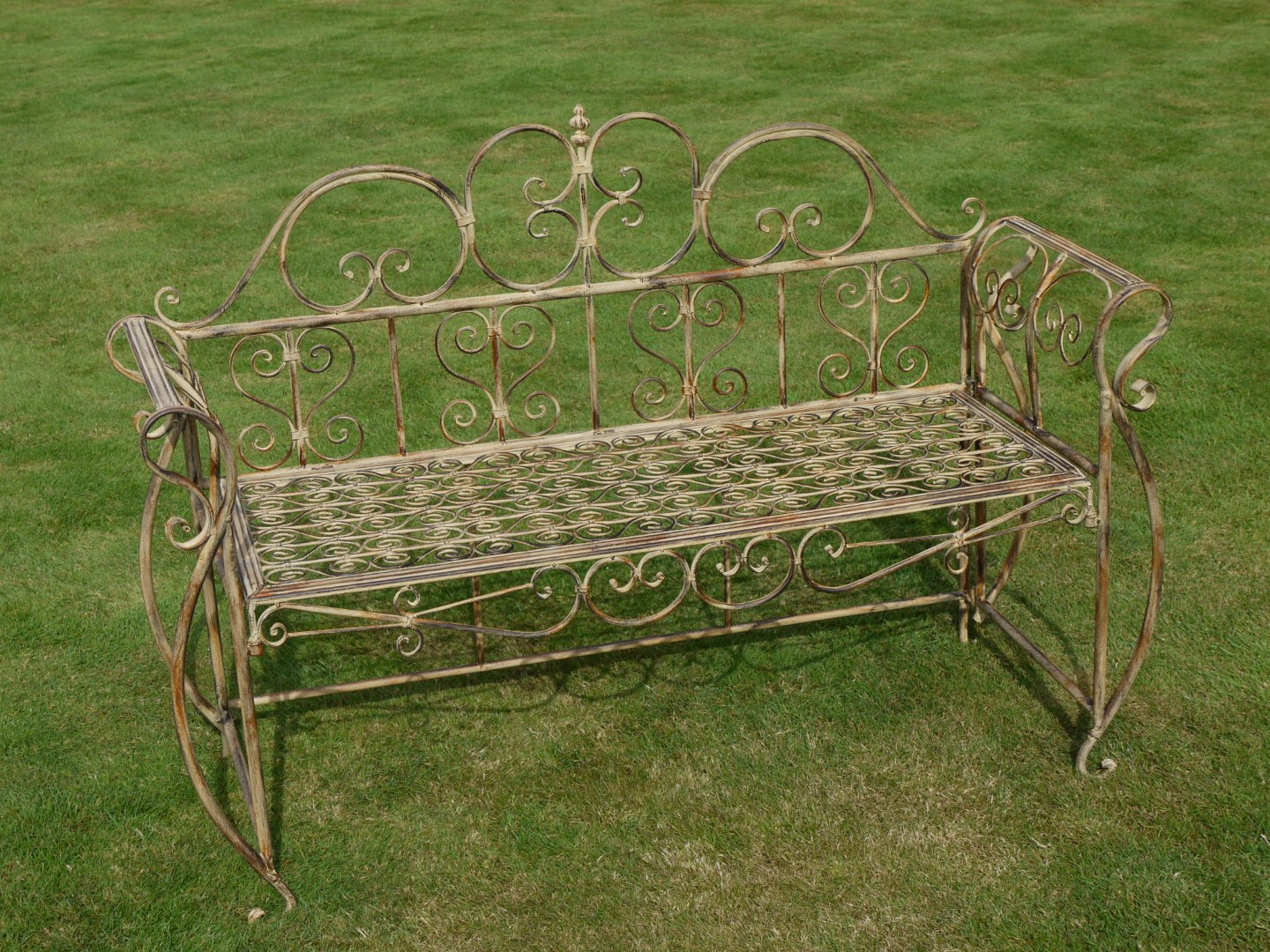 Antiqued Cream Metal Garden Bench