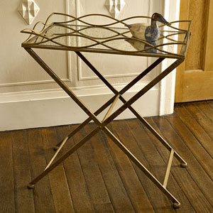 Antiqued Gold Mirrored Side Table