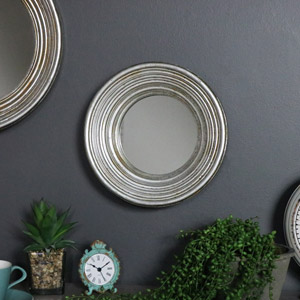 Antiqued Round Silver Wall Mirror