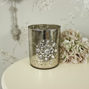 Antiqued Silver Glass Vase