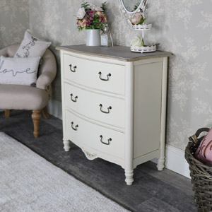 Antoinette Range - Cream 3 Drawer Chest of Drawers