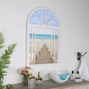 Arched Window Beach Scene Oil Painting