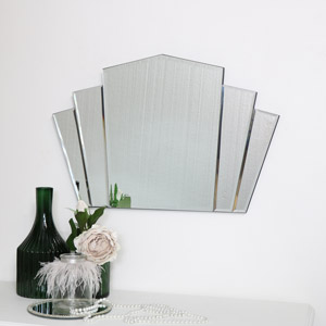 Art Deco Fan Frameless Wall Mirror 40cm x 60cm