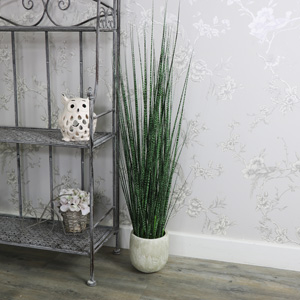 Artificial Brown/Green Mottled Onion Grass in Stone Cream Pot