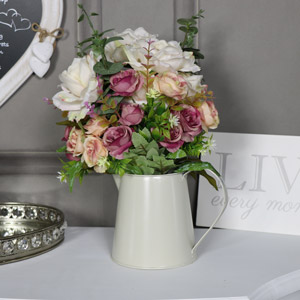 Artificial Rose Arrangement in Cream Jug