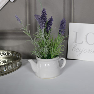Artificical Lavender in White Teapot Holder