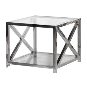 Square Silver & Glass Coffee Table