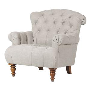 Beige Buttoned Linen Armchair
