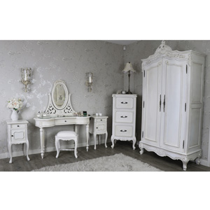 Bedroom Furniture Set, Double Wardrobe, Tallboy Chest of Drawers, Dressing Table, Mirror, Stool & 2 Bedside Lamp Tables - Limoges Range