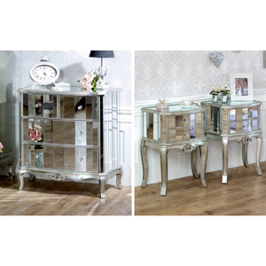 Bedroom Furniture, Silver Mirrored Chest of Drawers & Pair of Bedside Tables - Tiffany Range